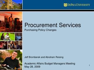 Procurement Services Purchasing Policy Changes