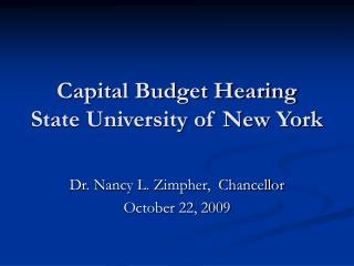 Capital Budget Hearing State University of New York