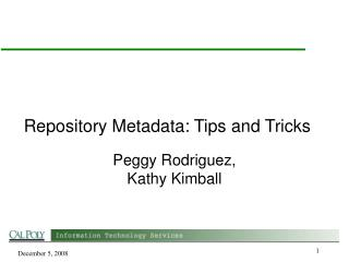 Repository Metadata: Tips and Tricks