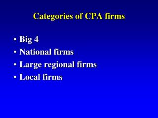 Categories of CPA firms
