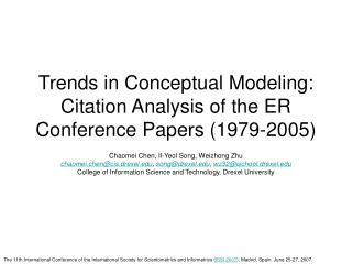 Trends in Conceptual Modeling: Citation Analysis of the ER Conference Papers (1979-2005)