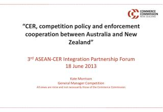 """CER, competition policy and enforcement cooperation between Australia and New Zealand"""