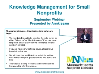 Knowledge Management for Small Nonprofits September Webinar Presented by Annkissam