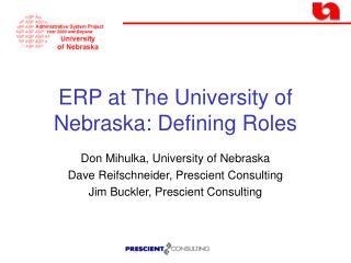 ERP at The University of Nebraska: Defining Roles