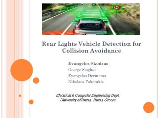 Rear Lights Vehicle Detection for Collision Avoidance
