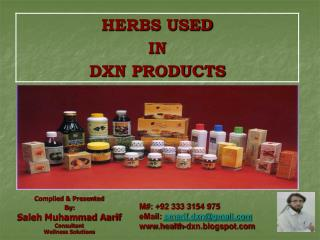 Compiled & Presented  By: Saleh Muhammad Aarif Consultant Wellness Solutions