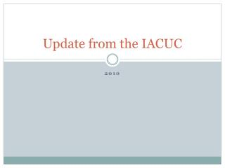 Update from the IACUC