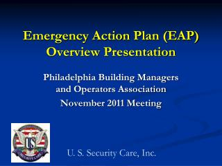 Emergency Action  Plan (EAP) Overview Presentation