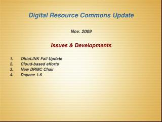 Digital Resource Commons Update