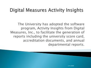 Digital Measures Activity Insights