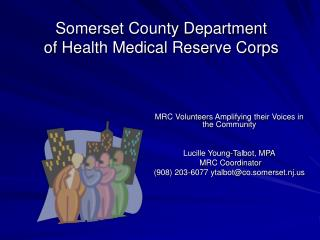 Somerset County Department  of Health Medical Reserve Corps