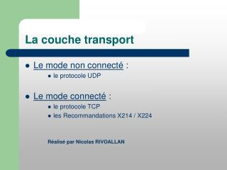 La couche transport