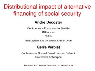 Distributional impact of alternative financing of social security