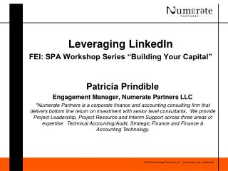 "Leveraging LinkedIn FEI: SPA Workshop Series ""Building Your Capital"""