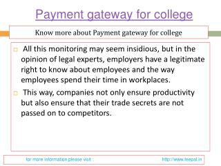 Apply and compare all types payment gateway for college
