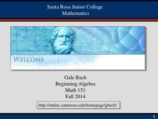 Gale Bach Beginning Algebra Math 151 Fall 2014