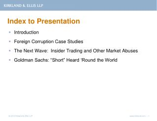 Index to Presentation