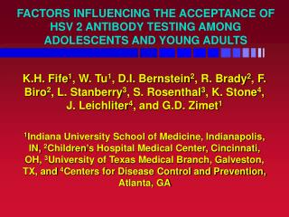 FACTORS INFLUENCING THE ACCEPTANCE OF HSV 2 ANTIBODY TESTING AMONG ADOLESCENTS AND YOUNG ADULTS
