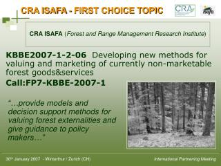 CRA ISAFA - FIRST CHOICE TOPIC