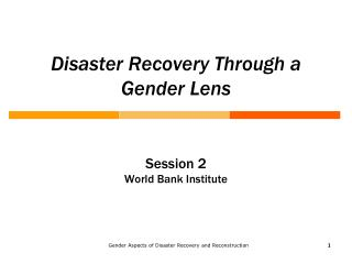 Disaster Recovery Through a Gender Lens