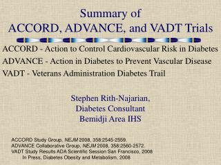 Summary of ACCORD, ADVANCE, and VADT Trials