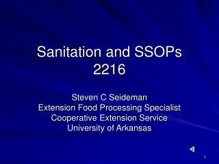 Sanitation and SSOPs 2216