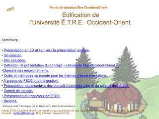 Edification de  l'Université Ê.T.R.E. *  Occident-Orient.