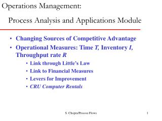 Changing Sources of Competitive Advantage Operational Measures: Time T, Inventory I, Throughput rate R Link through Litt