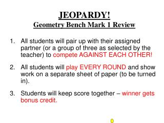 JEOPARDY! Geometry Bench Mark 1 Review