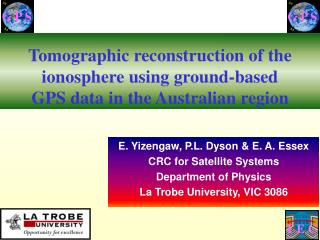 Tomographic reconstruction of the ionosphere using ground-based  GPS data in the Australian region
