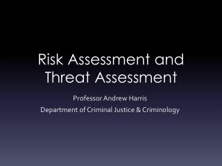 Risk Assessment and Threat Assessment