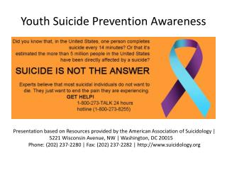 Youth Suicide  P revention  A wareness