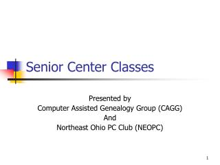Senior Center Classes
