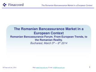 The Romanian  Bancassurance  Market in a European Context