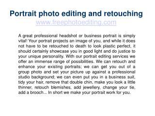 Portrait photo editing and retouching