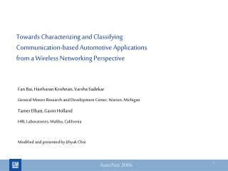 Towards Characterizing and Classifying Communication-based Automotive Applications from a Wireless Networking Perspectiv
