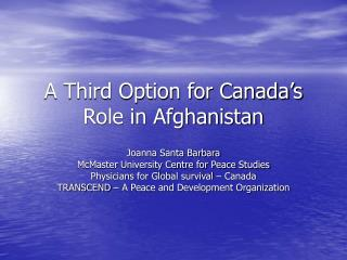 A Third Option for Canada's Role in Afghanistan