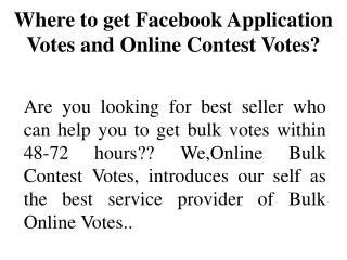 Buy Faceook Application Votes
