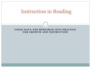 Instruction in Reading