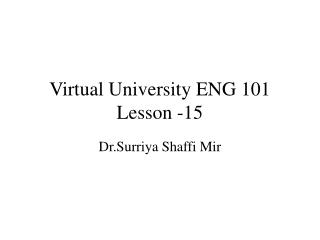Virtual University ENG 101 Lesson -15