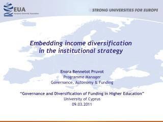 Embedding income diversification  in the institutional strategy