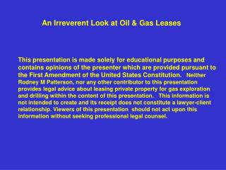 An Irreverent Look at Oil & Gas Leases