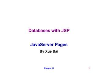 Databases with JSP