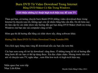 Burn DVD Từ Video Download Trong Internet  Bằng DVD Maker Có Sẳn Trong Windows
