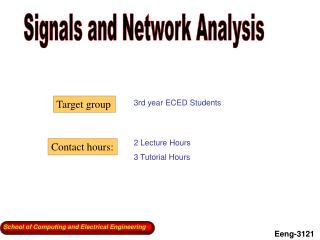 Signals and Network Analysis
