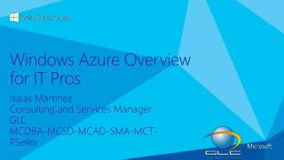 Windows Azure Overview for IT Pros