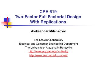 CPE 619 Two-Factor Full Factorial Design With Replications
