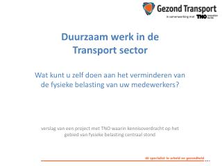 Duurzaam  werk  in de  Transport  sector