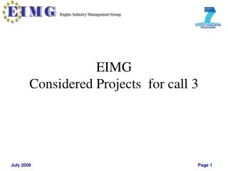 EIMG  Considered Projects  for call 3