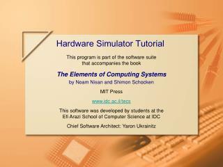Hardware Simulator Tutorial